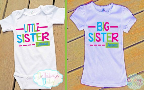 Big Sister Little Sister Outfit Bodysuit or Tshirt Photo