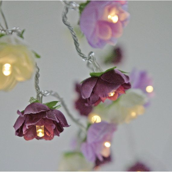 Rose Fairy Lights in Magenta Lilac and Apple White by PamelaAngus
