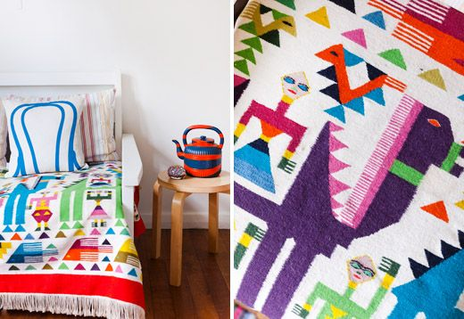 Melly Beilby house. What a fun Mexican blanket.  Photo – Sean Fennessy, styling – Lucy Feagins.