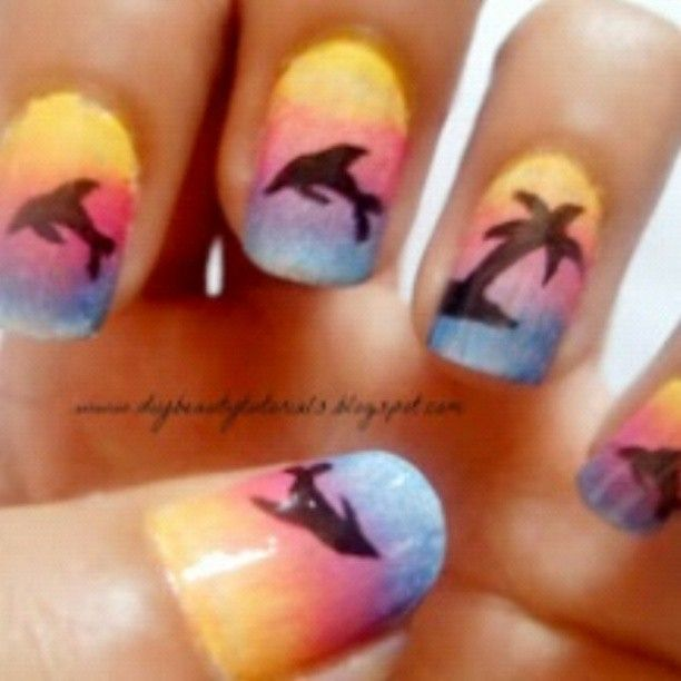 Sunset!!! #sunsetnails #sunset #nails #nailphotography #nailart #nailartist #art #fashion #style #glamor #beauty #beautiful #shadow #yellow #red #blue #orange #purple #pink #palmtree #dolphin #dolphins #ocean #water #sun #summer #happines by _instagramnails_