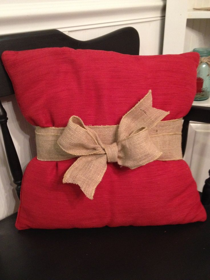 Simple way to spruce up a simple pillow! Esp. for FALL! Burlap Ribbon Pillow