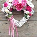 Rózsás tavaszi-nyári koszorú, ajtódísz, Dekoráció, Otthon, lakberendezés, Dísz, Ajtódísz, kopogtató, Virágkötés, Meska