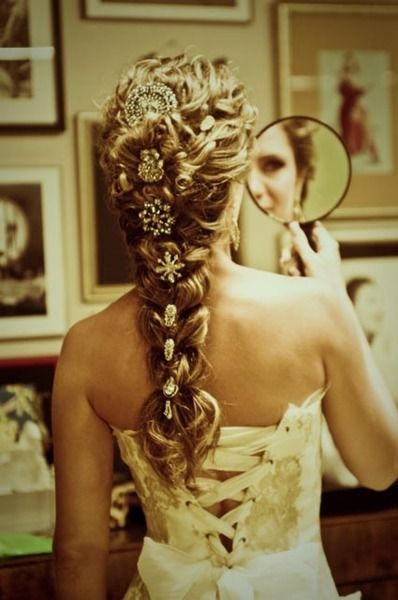 dress up your braid with sparkly vintage brooches