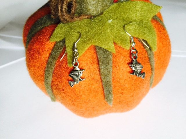 Halloween - Flying Witch Earrings - Fancy Dress - Sterling Silver or Silver Plated by Makewithlovecrafts on Etsy