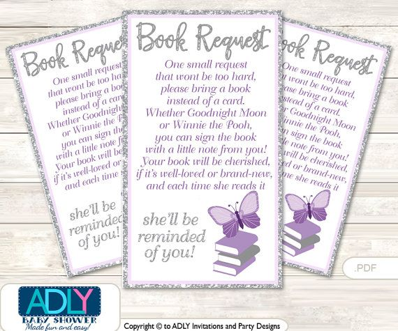 Purple Butterfly Book Request Baby Shower Printable DIY Tickets, Book  Instead Of Card, Itu0027s