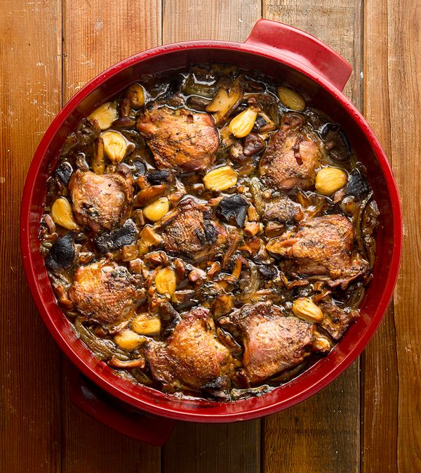 Braised pheasant with wild mushrooms, a French comfort food dish. (Yep, you can do this with chicken, too!) Recipe on Hunter Angler Gardener Cook: http://honest-food.net/