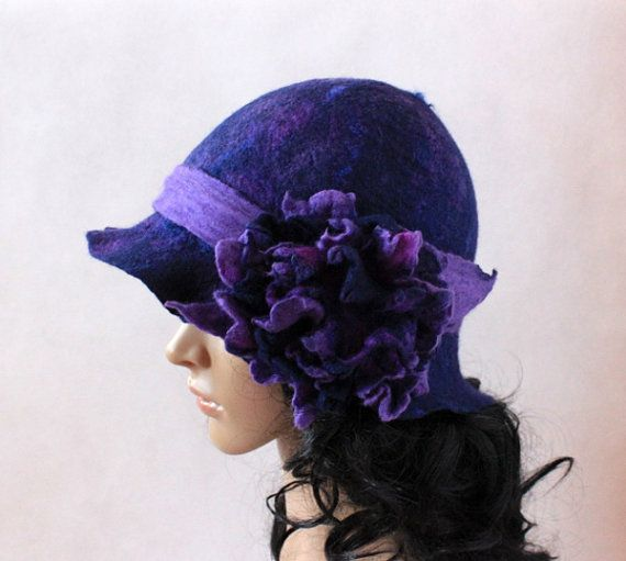 Felted hat flower navy blue purple lilac cloche hat by EsartFelt