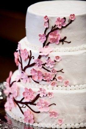 tarta flor de cerezo cherry blossom flower cake fondant rosa blanco pink white decoración boda bautizo comunión wedding  baptism communion decoration miraquechulo