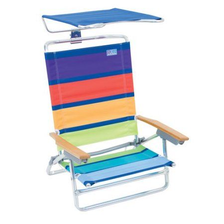 RIO Beach Folding Chair with Canopy, Orange