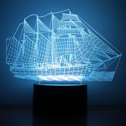 Cool Steamship 3D LED Night Light 7 Color Touch Switch Table Desk Lamp. Starting at $1