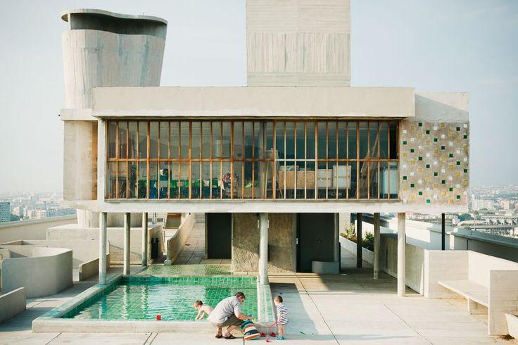 Cité Radieuse, Le Corbusier, Marseille. concrete, timber. off form concrete. Pool. ideas, backyard, patio, diy, landscape, deck, party, garden, outdoor, house, swimming, water, beach.