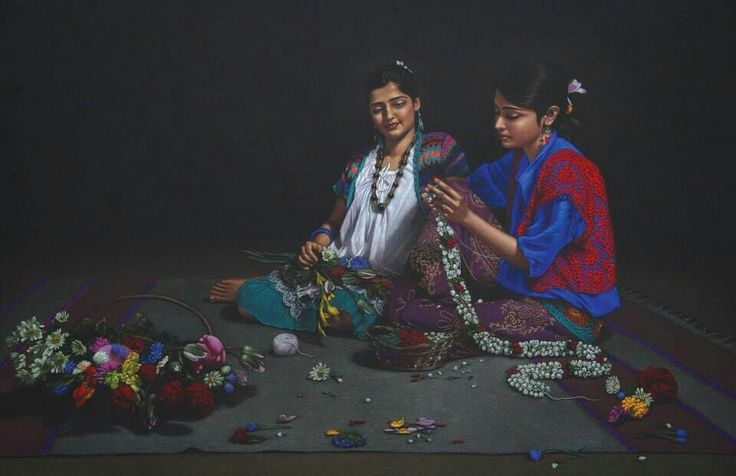 Painting made by Shashikant Dhotre, India. Colour pencils and black paper are used as a medium.