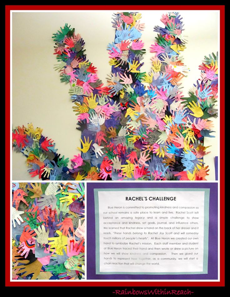 Rachel's Challenge Hand Print Collaboration at Blue Heron Elementary, Littleton CO (in response to Columbine) Article reflects on Sandy Hook Elementary Tragedy