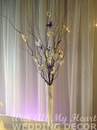 Curly Willow Branch and Orchid Centerpiece