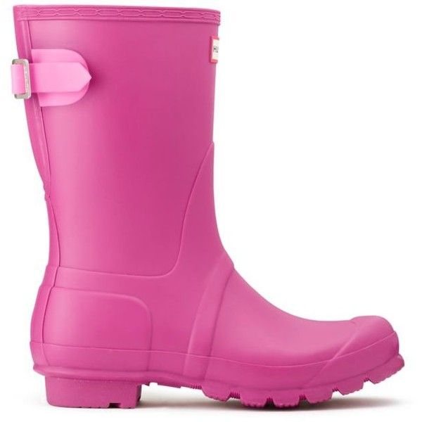 Hunter  Women's Original Short Back Adjustable Rain Boots ($113) ❤ liked on Polyvore featuring shoes, boots, dark pink, hunter boots, waterproof rain boots, waterproof shoes, water proof boots and short welly boots