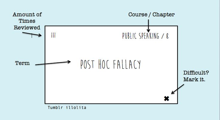 """illolita: """" How I Format and Use Flashcards 1. Less is More: no need for a paragraph to define a term, choose the simplest and most efficient one. Also, don't include common sense things or things you..."""