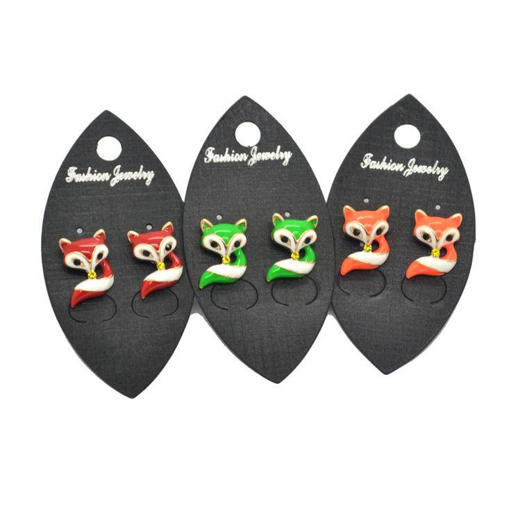 2016 Fashion Jewelry Cute Red/Green/Orange Fox Earring Stud EMZ Girls Kids lady Gift  High Quality Wholesale lots freeshipping