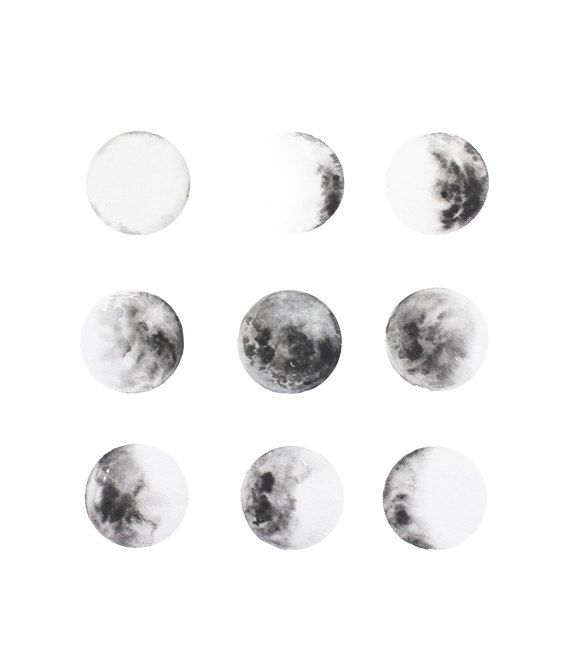 MOON PHASES ART PRINT  - Not original painting - Printed in high quality Giclee paper - Ready to be framed - Signed and dated - Please note every monitor/screen displays color slightly differently - If you have any questions, please contact me  Like the moon, we all change. And like the moon, some days may seem dark and it may seem like there is nothing else left to look up to. But even when we cant see the moon, it is there. It shows me that there is always hope.   Much love, Amanda Mar...