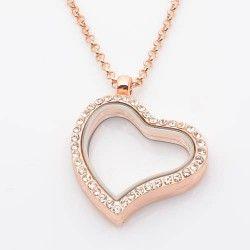 Rózsa arany strasszos nagy szív medál