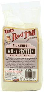 Bob's Red Mill All Natural Whey Protein Concentrate, 12-Ounce Packages (Pack of 4) by Bob's Red Mill 4.3 out of 5 stars  See all reviews (52 customer reviews) Price: $41.88 ($0.87 / oz) & FREE Shipping. Details        Case of four 12-ounce packages (48 total ounces)     Made from 100% all-natural whey protein     High-quality complete protein     Dissolves quickly in shakes and smoothies, or use for baking     Packaged in Milwaukie, Oregon