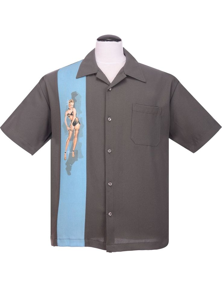 Steady Pinup Grey Girl Bowling Camp Lounge Shirt Retro 1950s 50s One Panel $46.00 AT vintagedancer.com