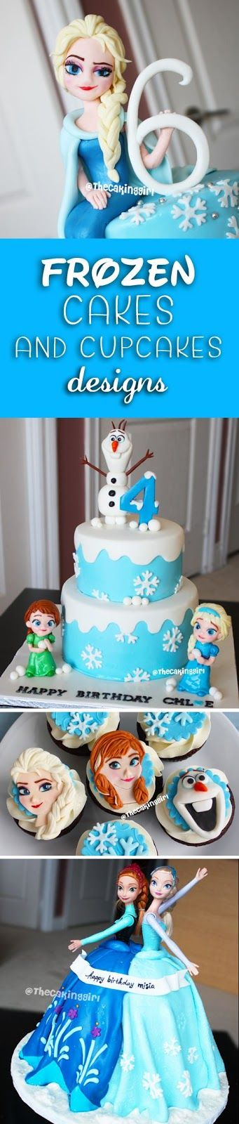Beautiful Disney Frozen Cakes and Cupcakes designs for inspirations. Frozen birthday cakes for kids.  Fondant/Gumpaste, edible Elsa figurines, edible olaf figurines, edible Anna figurines cake toppers, handmade.  www.thecakinggirl.ca