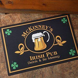 """Personalized Irish Pub Door Mat - Four Leaf Clover Design . $17.20. Your Irish pub will be """"open for business"""" with our exclusive Irish Pub Doormat!We custom personalize each mat with any name creating a warm welcome to guests and """"regulars"""" alike!A great gift idea for housewarmings, party gifts, or for your own bar area! Slainte!Makes a great gift paired up with our other Irish Pub items!"""