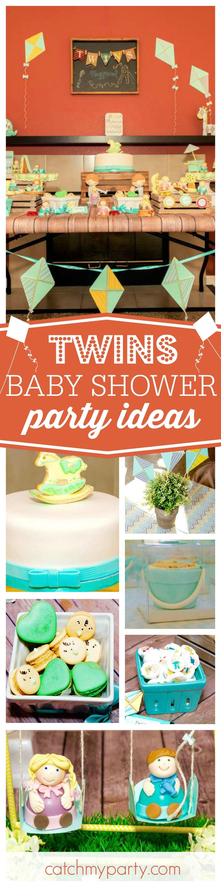 Check out this fun Twin 'playground' Baby Shower! The little people desserts are so cute!! See more party ideas and share yours at CatchMyParty.com