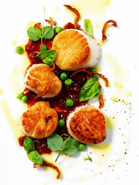 Seared Scallops, Tomato-Chile Jam, Fresh Peas, and Bacon from Tyler Florence Fresh