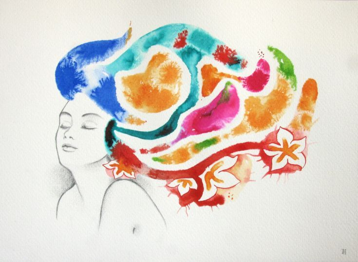 ARTFINDER: Something's in my head #4 by Irene Raspollini - Original illustration made on high quality Fabriano 300 gsm paper 50% cotton with Indian inks and pencil. Perfect to give a touch of spring in your home! Com...