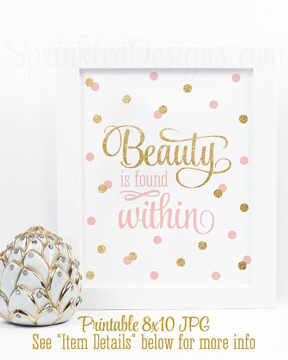 Beauty & the Beast decorations - Beauty is found within - I want adventure in the great wide somewhere - Beauty & the Beast Quotes -  Set of 2 Printable Wall Art Signs - Blush Pink Gold Glitter