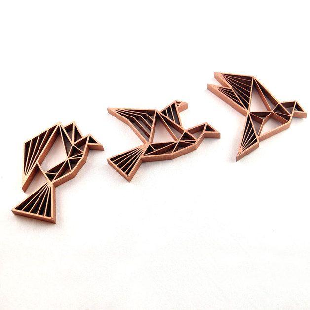 drei v gel fliegend 3d holz motiv wand deko origami v gel wohndeko und origami. Black Bedroom Furniture Sets. Home Design Ideas