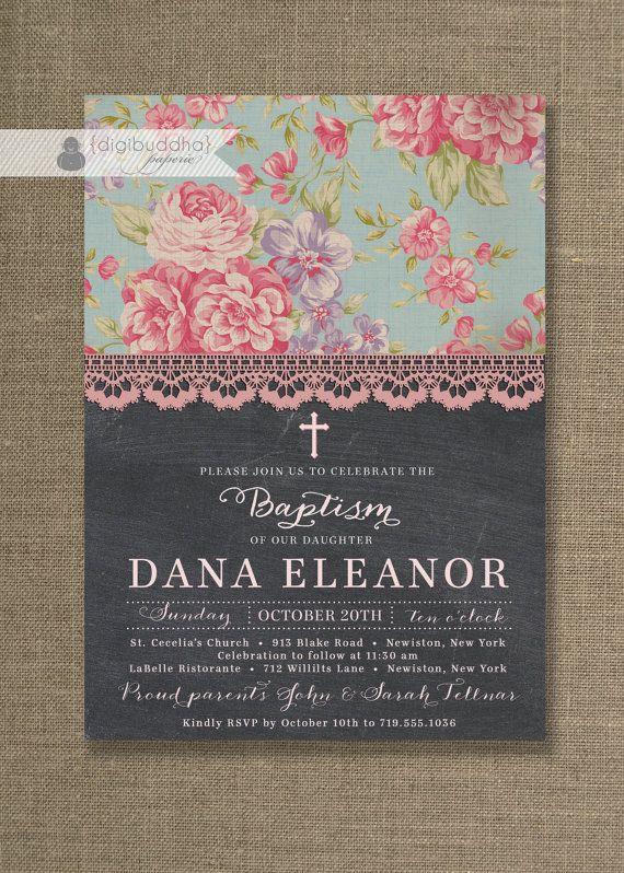 {Dana} Chalkboard Lace Baptism Invitation Shabby by digibuddhaPaperie, $23.00 https://www.etsy.com/listing/159541088/chalkboard-lace-baptism-invitation
