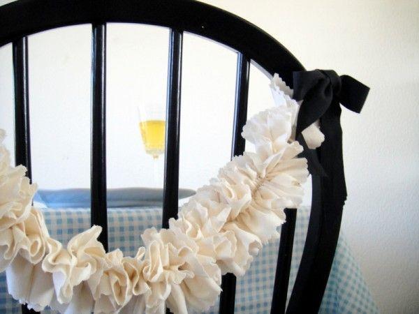 Beautiful DIY Ruffle Garland.: Ruffles Garlands, Birthday Parties, Chairs Decor, Chairgarland, Parties Ideas, Chairs Garlands, Chairs Back, High Chairs, Chairs Covers