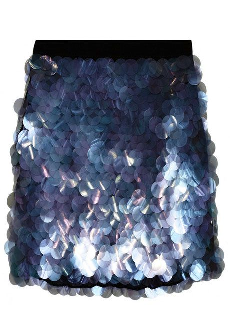 DKNY Paillette Embellished Stretch Silk Mini Skirt