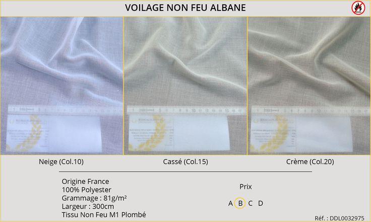 Rideaux-Hôtels voilage non feu M1 Albane