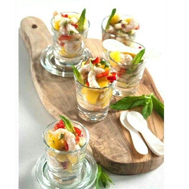 Summer fruit with shrimp cevivhe