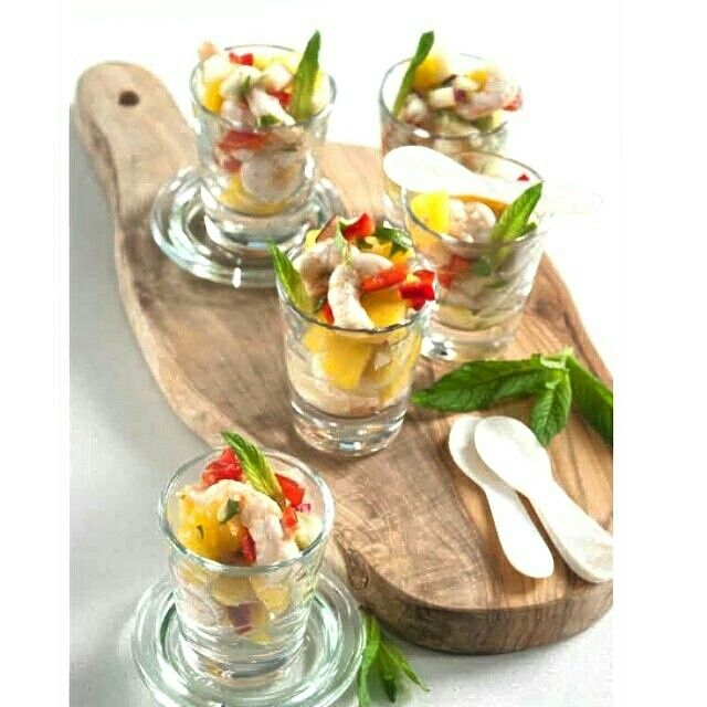Summer fruit with shrimp cevivhe