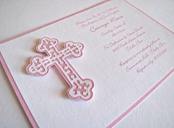 Baptism / First Communion Invitation  Pink Cross by ScrapYourStory, $2.50