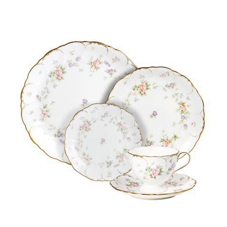 Endearment by Mikasa 40 Piece Dinnerware Set w/Bread & Butter Plate, Service for 8