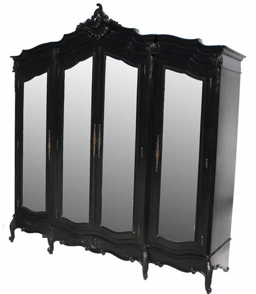 French Noir Black Painted 4 Door Mirrored Armoire