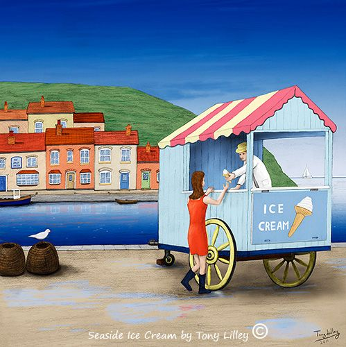 """Seaside Ice Cream - Trad-Digital painting by Tony Lilley. Drawn in pencil on paper and then painted digitally in Photoshop. 12"""" X 12"""" Limited Edition of 50 Fine Art Prints."""