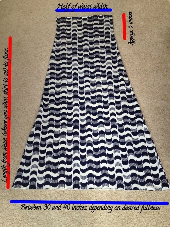 easy DIY maxi skirt this description is good... Make sure to measure around the fullest part of your hips too