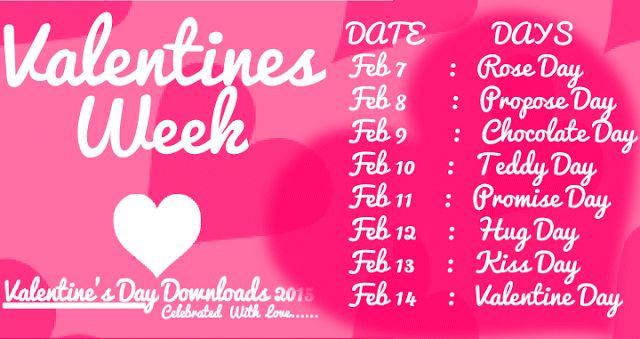 {[Love]}*  Valentine Week List 2017 Dates Schedule Rose Teddy Propose Promise Hug Kiss Chocolate Day Full list.