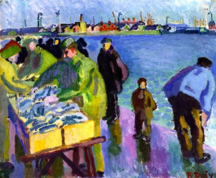 Raoul Dufy (1877-1953) was een Frans fauvistisch kunstschilder, illustrator, stofontwerper en decoratieschilder. Tussen de jaren 1905 en 1909 heeft het werk van Dufy een sterk fauvistische invloed. Hij ontwikkelde steeds meer een eigen stijl die na een flirt met het kubisme vaste vormen aannam vanaf 1920. Deze stijl wordt over het algemeen getypeerd als stenografisch en kleurrijk.
