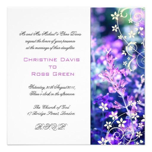 Lavender, white wedding invitation