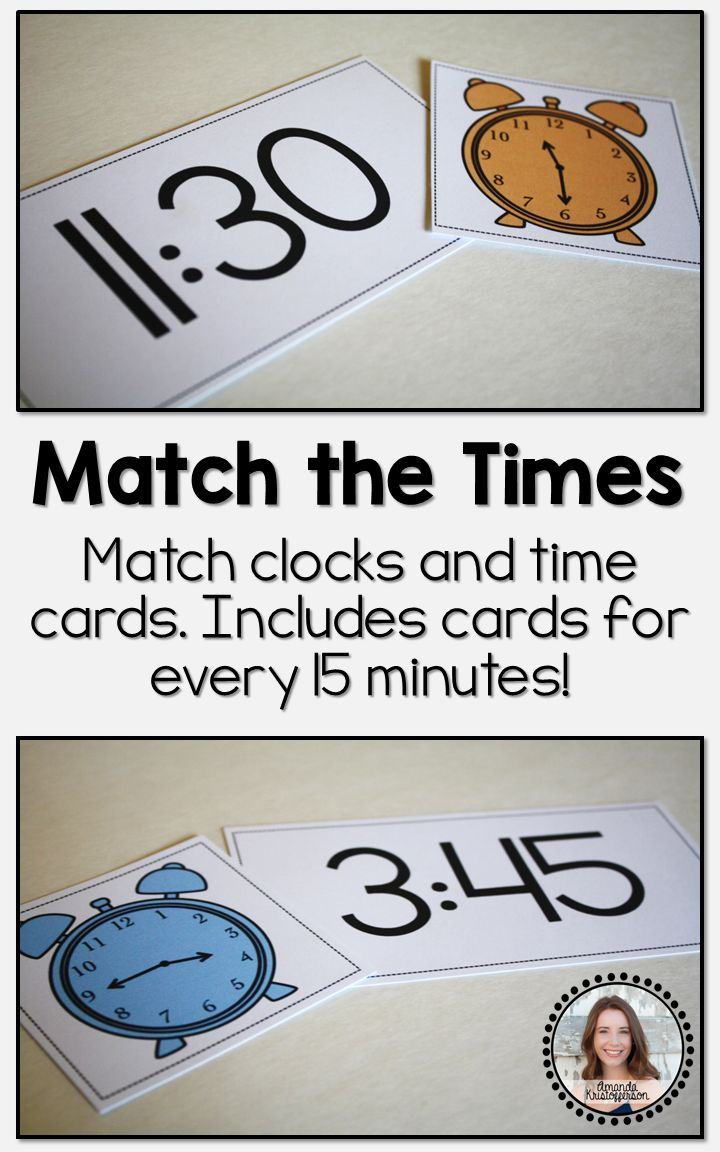 Let your students test their knowledge of clocks and times with this interactive matching game! Each set of cards includes 48 clock images displaying times that correspond with 48 time cards. Keep students accountable for their work at this center with the double sided worksheet included in the file.