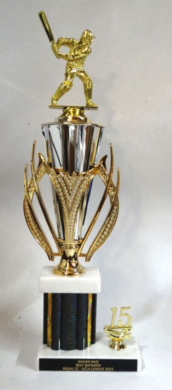 """Cricket Trophy With Cup73 - Batsman Figure F222 - 16"""""""" Tall - Free Engraving"""