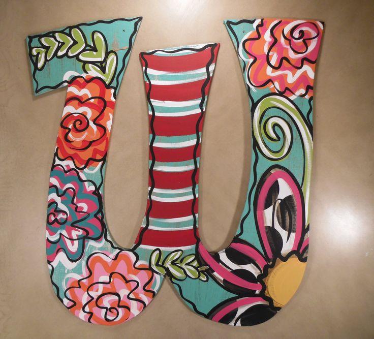 Flower initial door hanger - W
