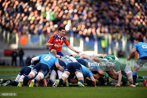 News Photo : Players push in a scrum during the Six Nations...